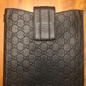 Gucci Guccissima iPad Case - Black Leather